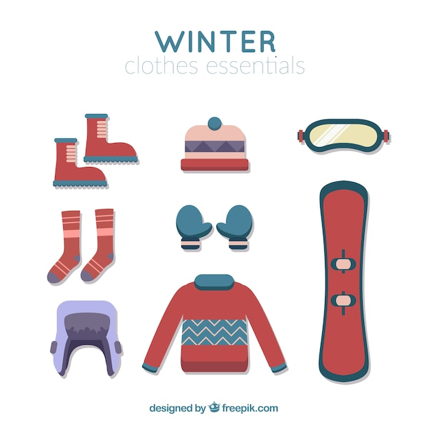 Snowboard assortment with essentials winter\ elements