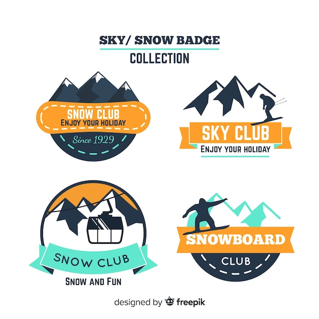Snowboard badge collection Free Vector