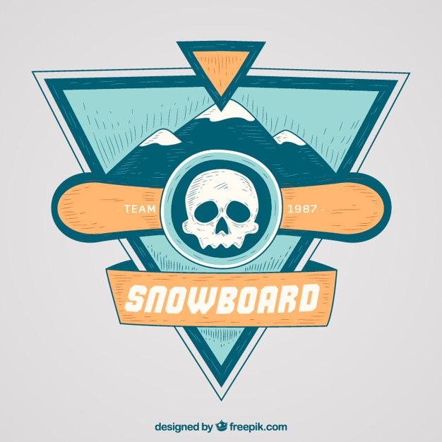 Snowboard badge with skull and hand drawn\ mountains