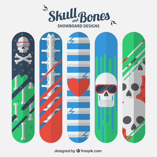 Snowboard designs with skulls and bones
