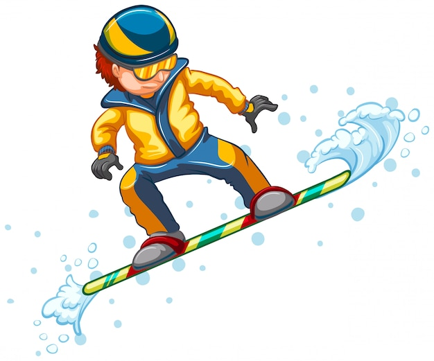 Прыжки на сноуборде, изолированные на белом Бесплатные векторы