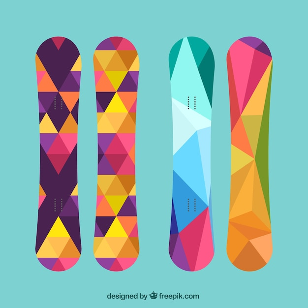 Snowboard pack in polygonal style