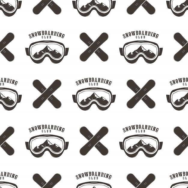 Snowboard pattern. winter ski seamless design with snowboards masks Premium Vector