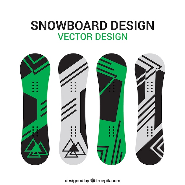 Snowboard set in minimalist design