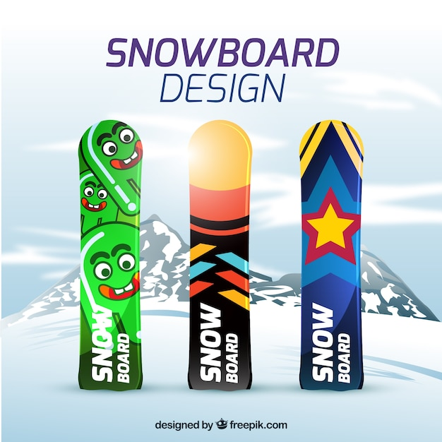 Snowboard with modern designs