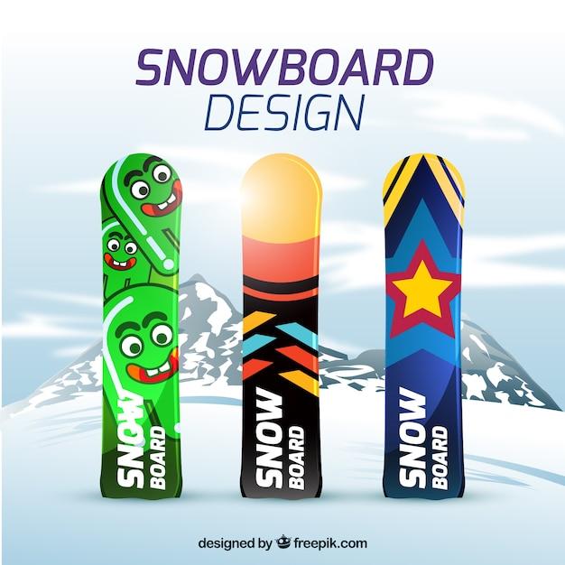 Snowboard with modern designs