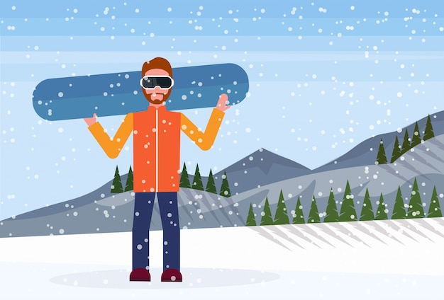 Snowboarder man holds snowboard Premium Vector