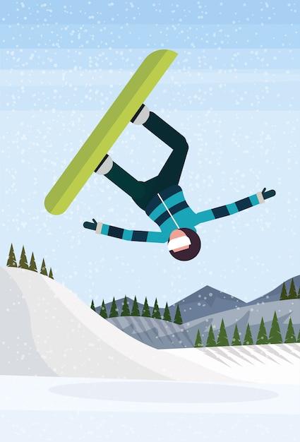 Snowboarder man jumping Premium Vector
