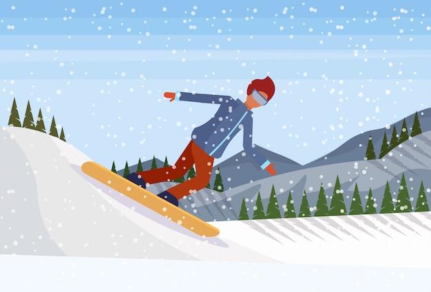Snowboarder man sliding down the mountain Premium Vector