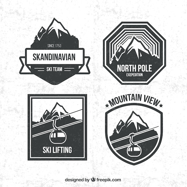 67e0540c7f15 Snowboarding badges pack Free Vector