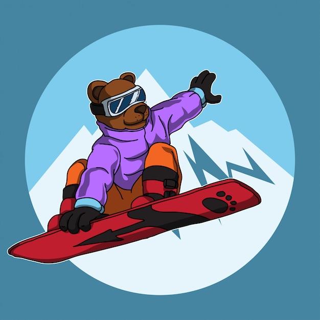 Snowboarding Bear Cartoon Illustration Premium Vector