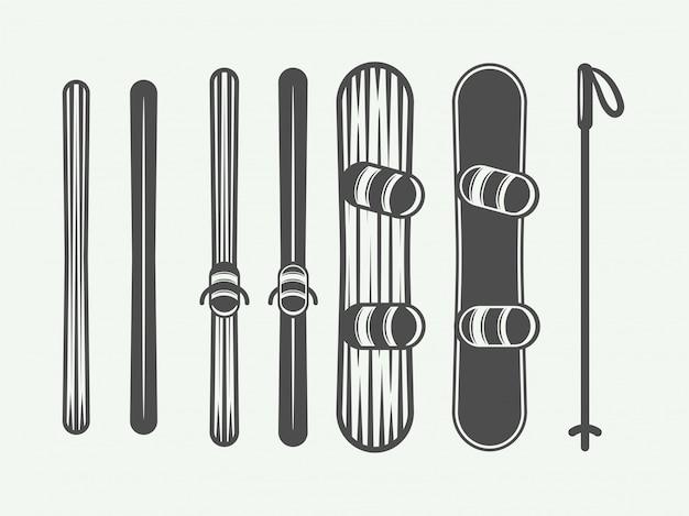 Snowboarding elements. Premium Vector