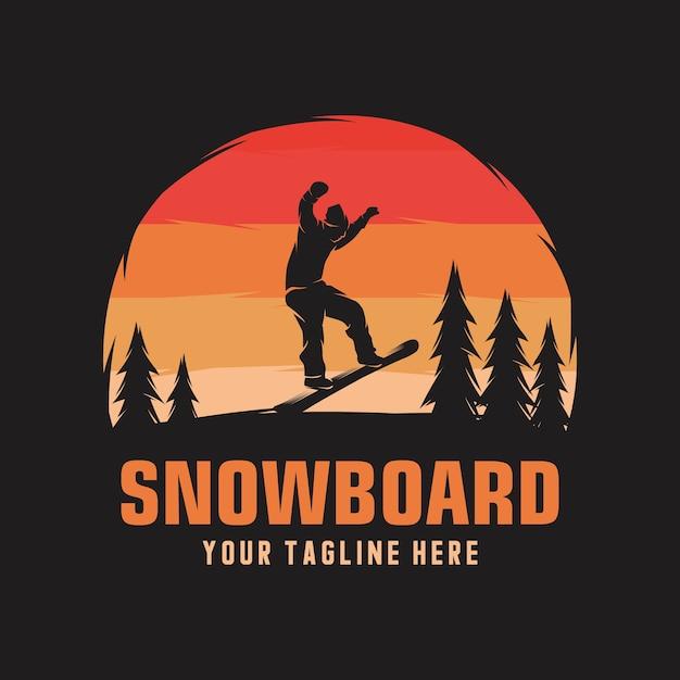 Snowboarding emblem illustration man on sunset background Premium Vector