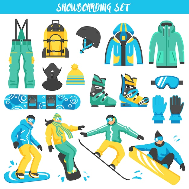 Snowboarding equipment colored set Free Vector