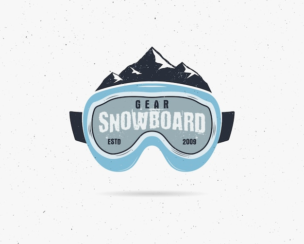 Snowboarding goggles extreme logo, label template. winter snowboard sport store badge. Premium Vector