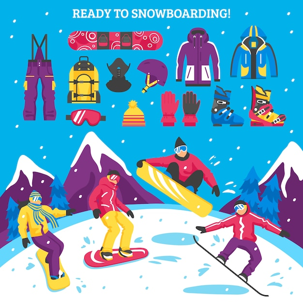Snowboarding illustration Free Vector