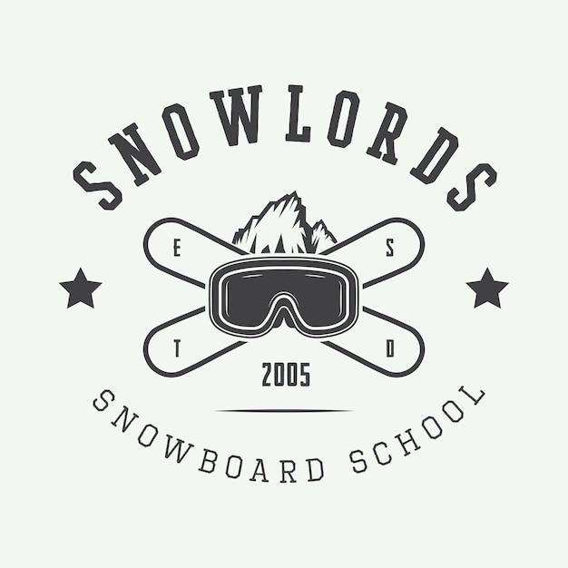 Snowboarding logo, badge Premium Vector