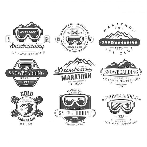 Snowboarding logo and label template set Premium Vector