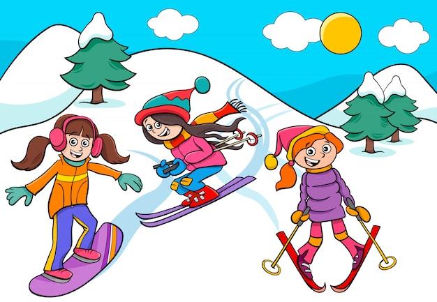 Snowboarding And Skiing Girls Cartoon Illustration Premium Vector
