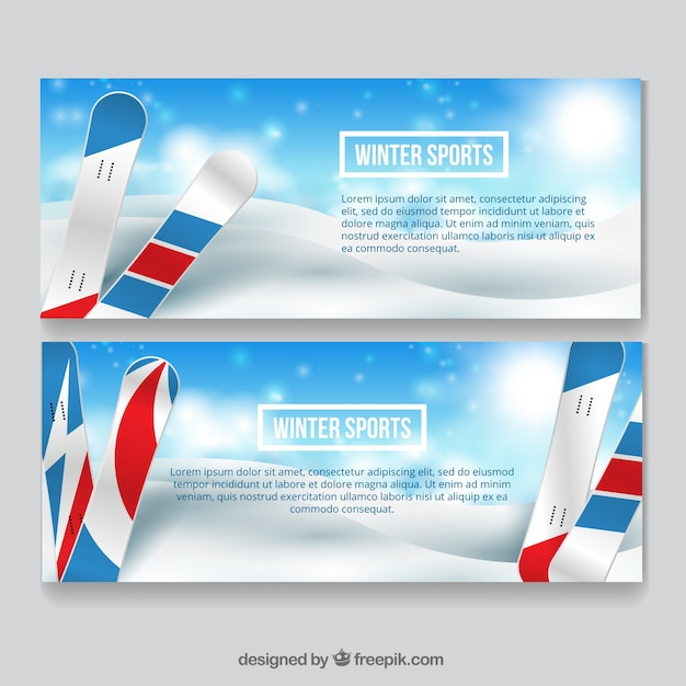 Snowboarding winter sports banners