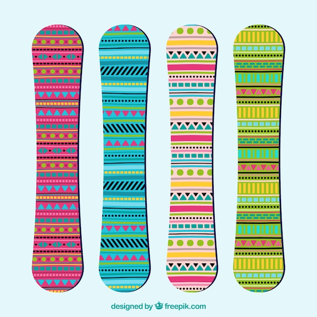 Snowboards in ethnic style
