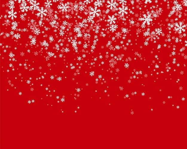 Snowfall on red background Premium Vector