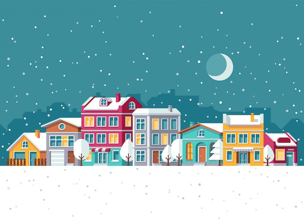 Snowfall in winter town with small houses cartoon vector illustration. christmas holidays concept Premium Vector