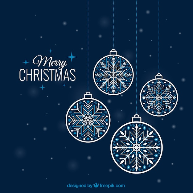 Snowflake baubles background Free Vector