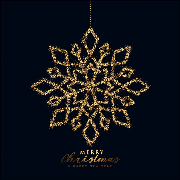 Snowflake christmas  in black and gold color Free Vector