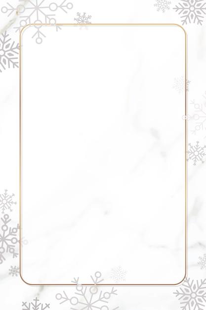白い背景の上のスノーフレーククリスマスフレームデザイン 無料ベクター