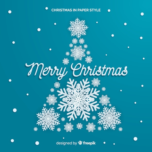 Snowflake christmas tree paper style background Free Vector