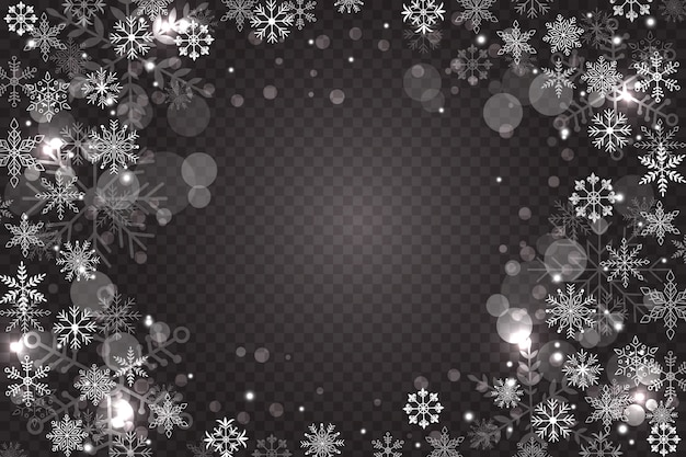 Snowflake overlay background Free Vector