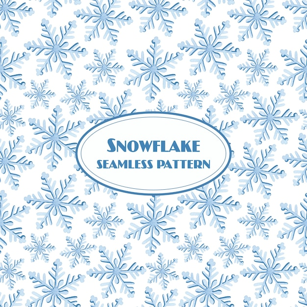 Snowflake seamless pattern watercolor on white background Premium Vector