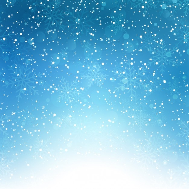 Snowflakes on a blue bokeh background Free Vector