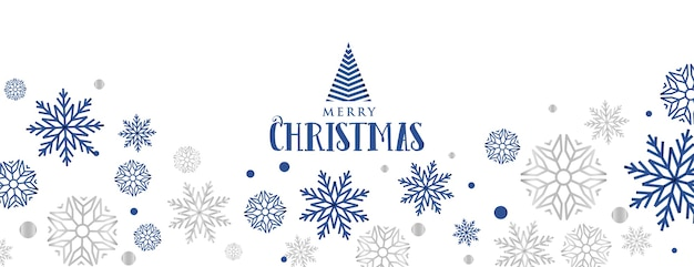 Snowflakes decorative banner for merry christmas festival Free Vector