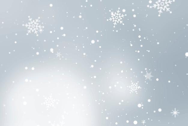 灰色の背景に降る雪 無料ベクター