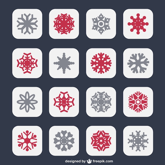 Snowflakes icons in two colors Premium Vector