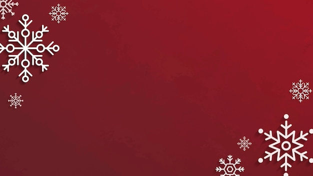 Snowflakes on red background Free Vector
