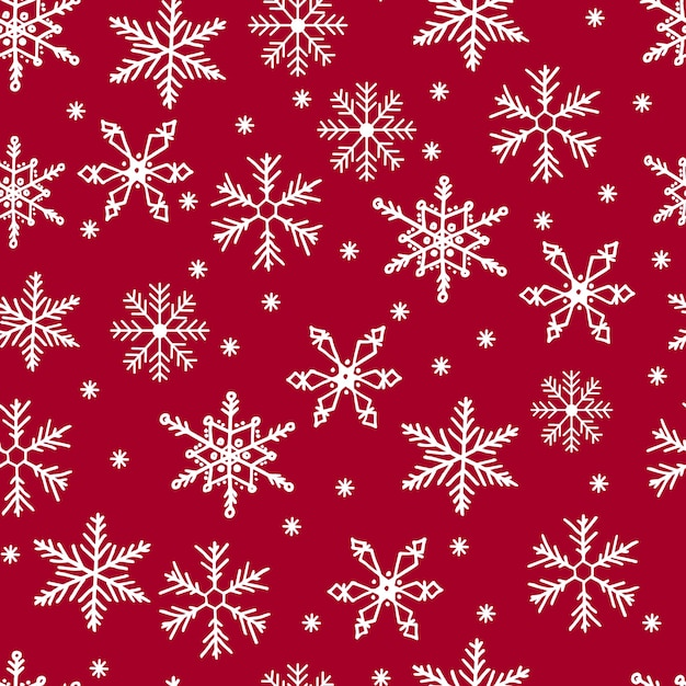 Snowflakes seamless pattern. white snow on red background. merry christmas. Premium Vector