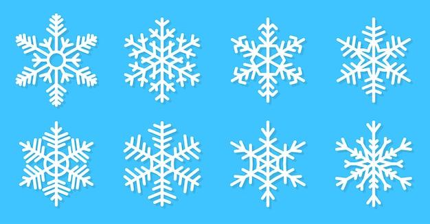 눈송이 아이콘을 설정합니다. 겨울 얼음 결정, 서리 눈. 새해 또는 크리스마스 카드 장식 프리미엄 벡터