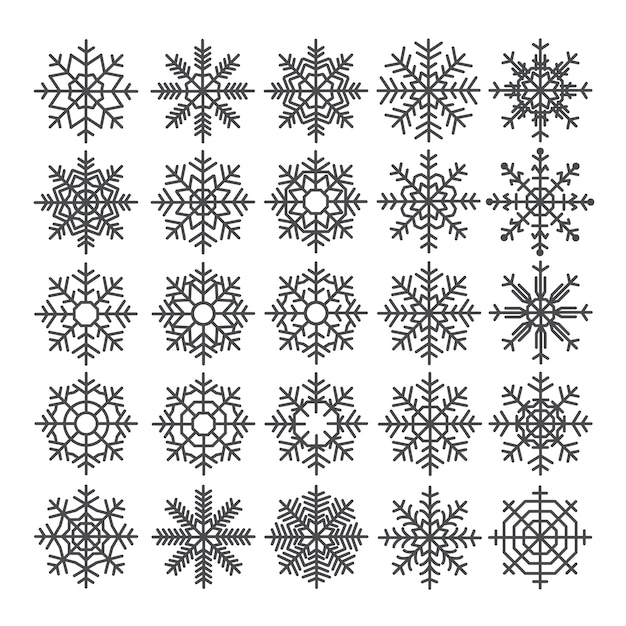 Набор снежинок. пакет шаблонов снежинок. зимние элементы декора. Premium векторы