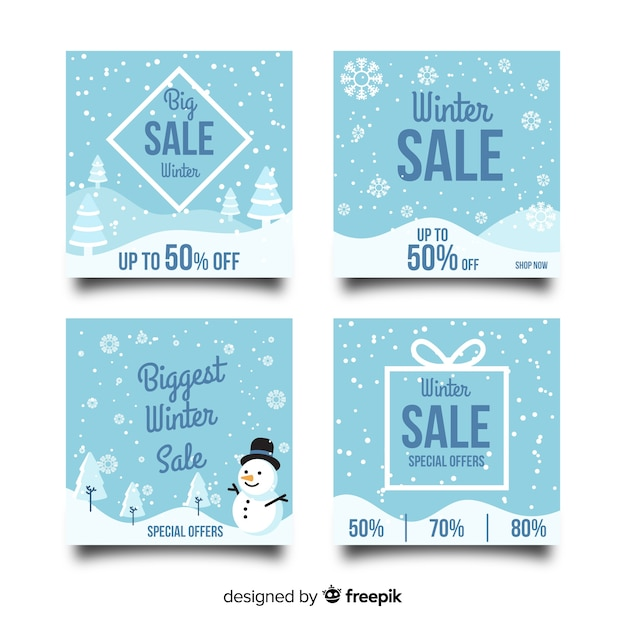 Snowflakes winter sale card collection Free Vector