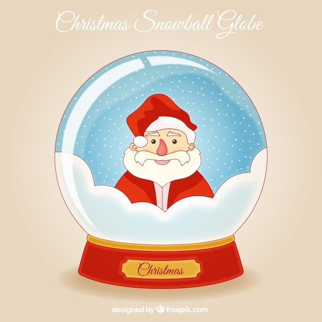 Snowglobe background with hand drawn cheerful santa claus