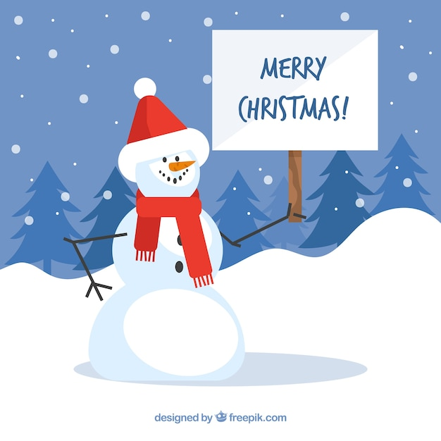 Snowman background with christmas sign