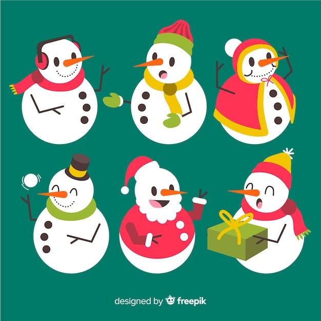 Снеговик коллекция персонажей в плоском дизайне Бесплатные векторы
