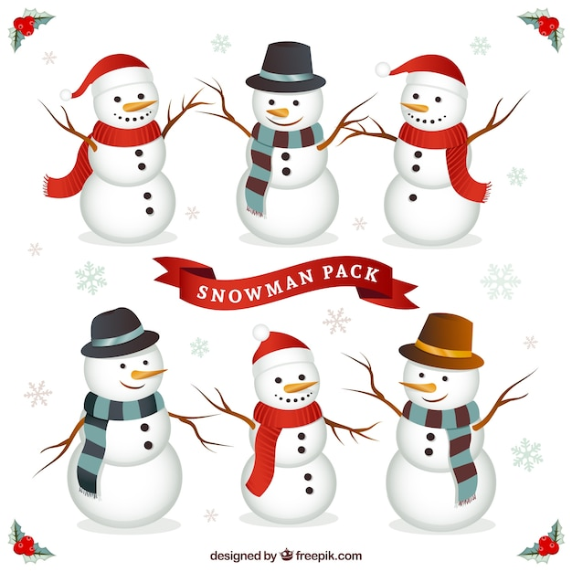 Snowman character pack Free Vector