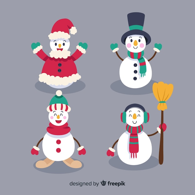 Snowman characters set Free Vector