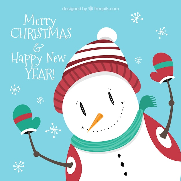 Snowman Christmas Greetings Card Free Vector