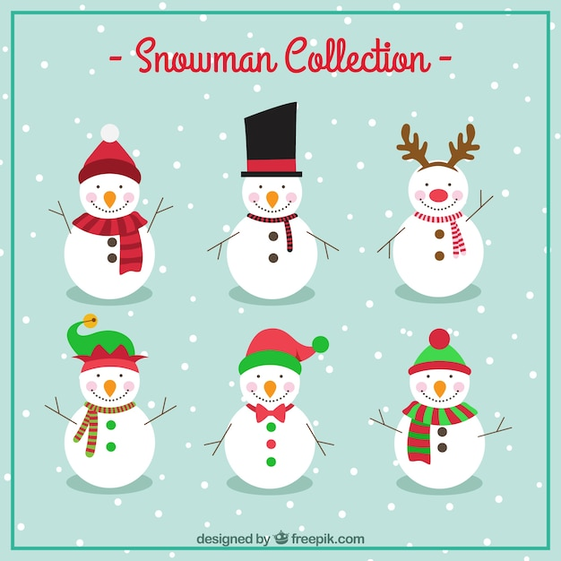 Snowman collection Free Vector