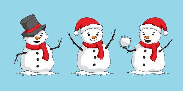 雪だるまかわいいクリスマス文字セット Premiumベクター